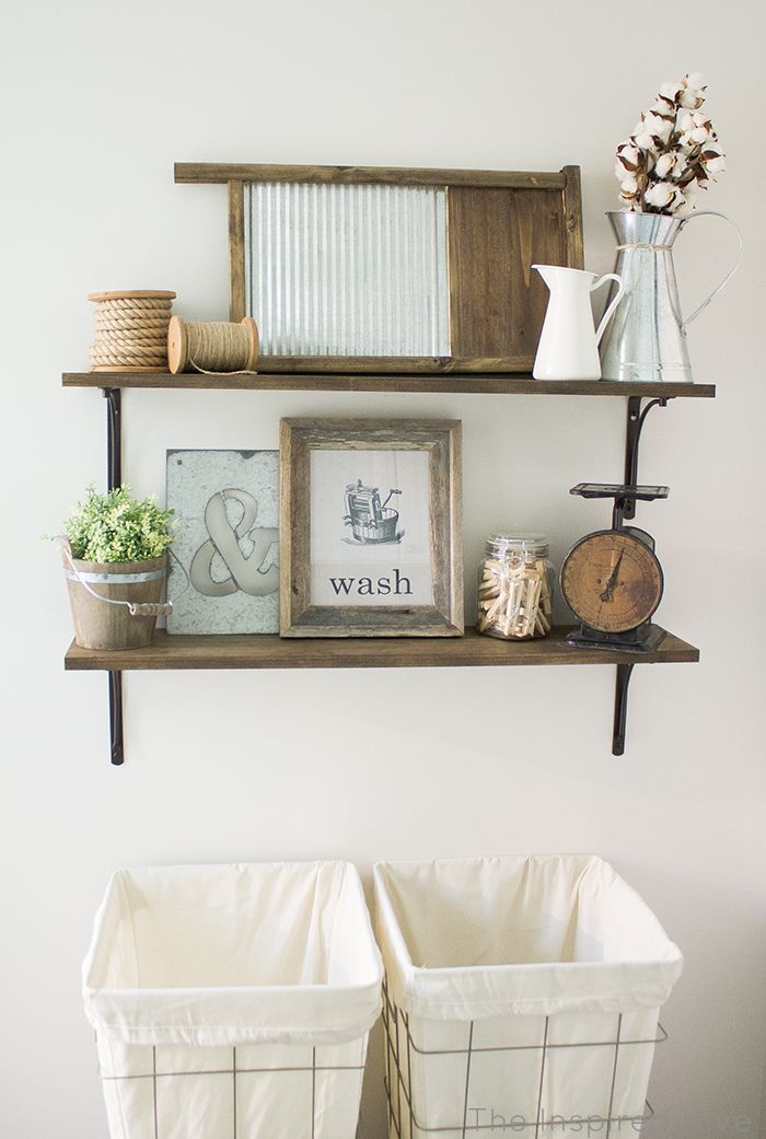 Rustic Industrial Laundry Room Reveal Shelving Ideas