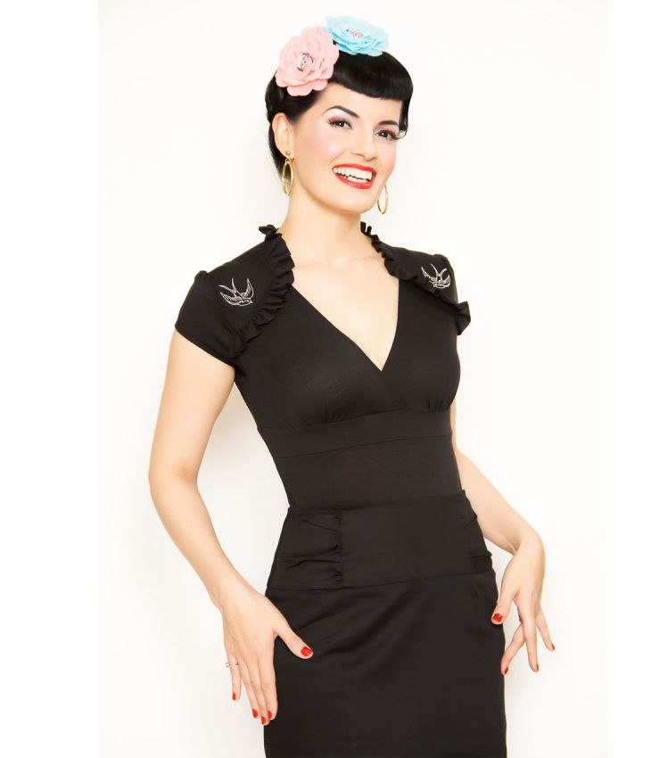 Steady Black Sparrow Lush Top  Unique Vintage  Pinup Holiday