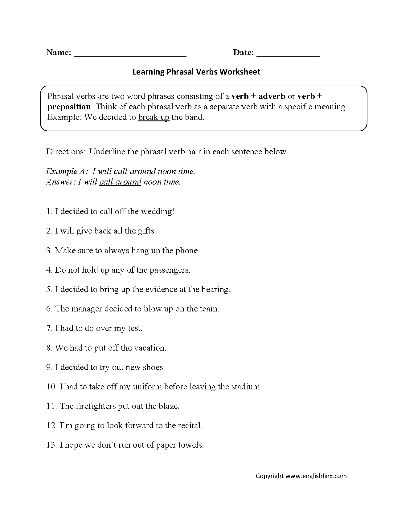 Learning Phrasal Verbs Worksheet