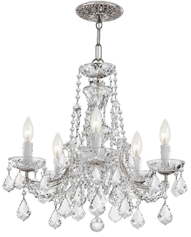 Crystorama 4476 Ch Cl S Maria Theresa 5 Light Chandelier In Polished Chrome