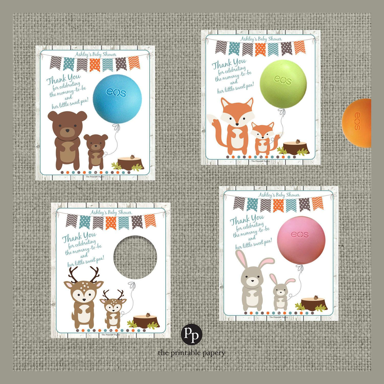 Printable Woodland Animal Baby Shower T Tags For Eos