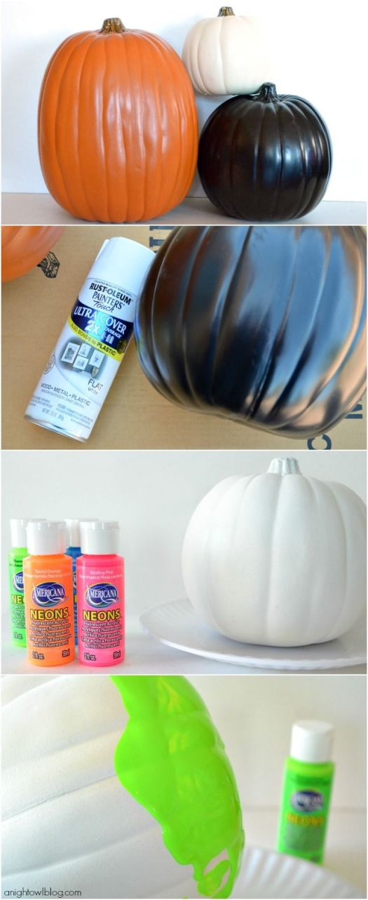 How To Make Neon Paint Dipped Pumpkins Paintdipped