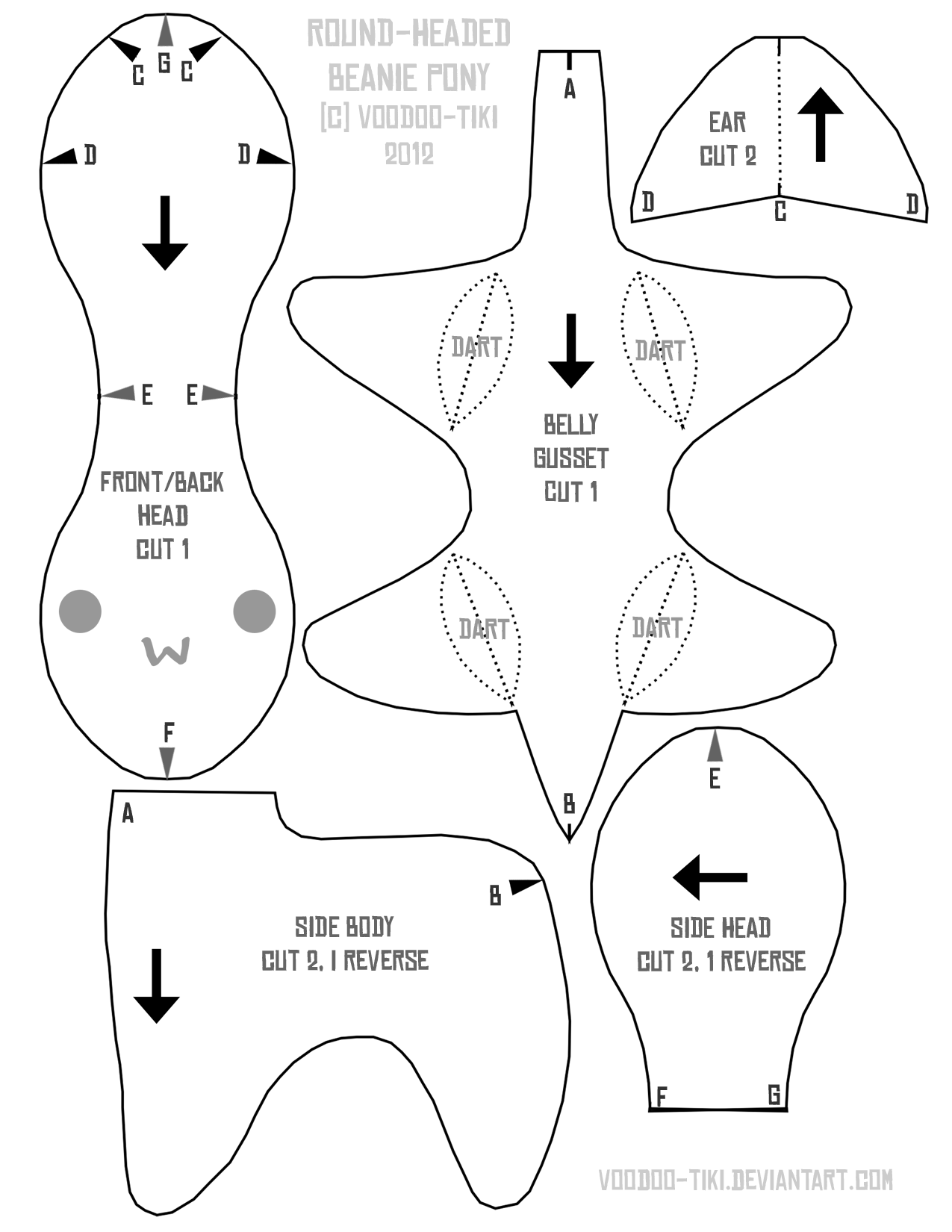 Round Head Beanie Pony Pattern By Voodoo Tiki On Plushie