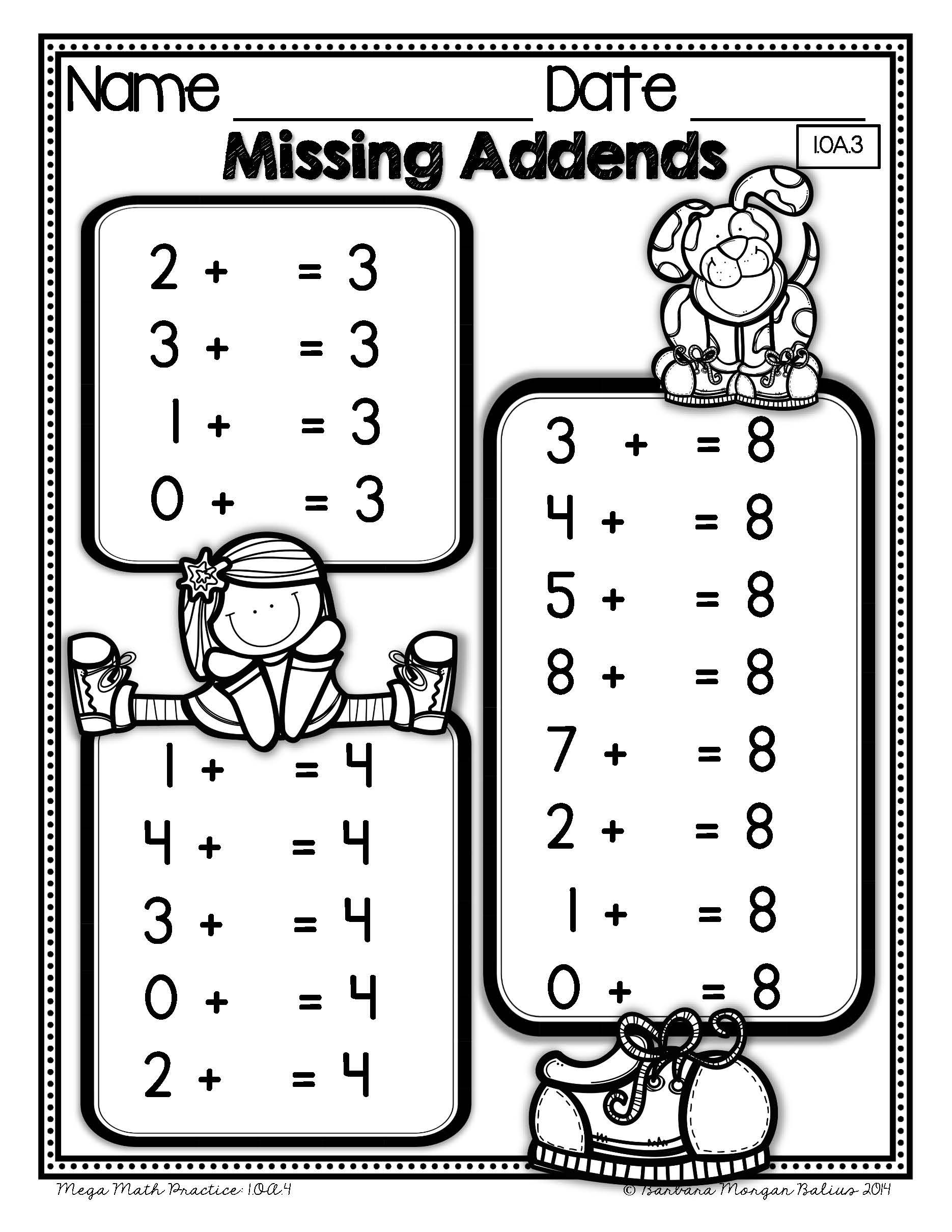 First Grade Math Mega Practice 1 Oa Bundle Operations And
