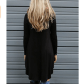 Women black long sleeve casual loose tshirt dress neck stretches