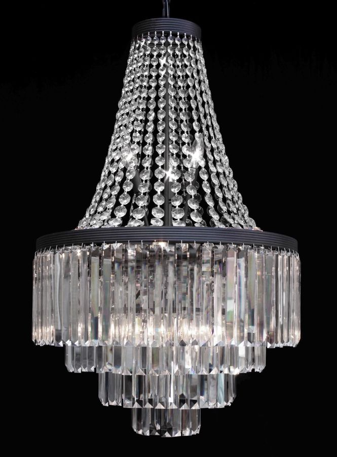 G7 2183 11 Gallery Chandeliers Retro Odeon Crystal Glass Fringe 3 Tier Chandelier