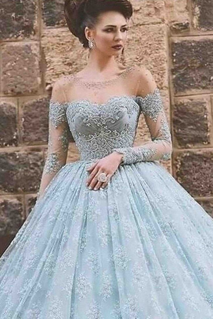 Beautiful blue lace tulle ball gown wedding dress Gowns