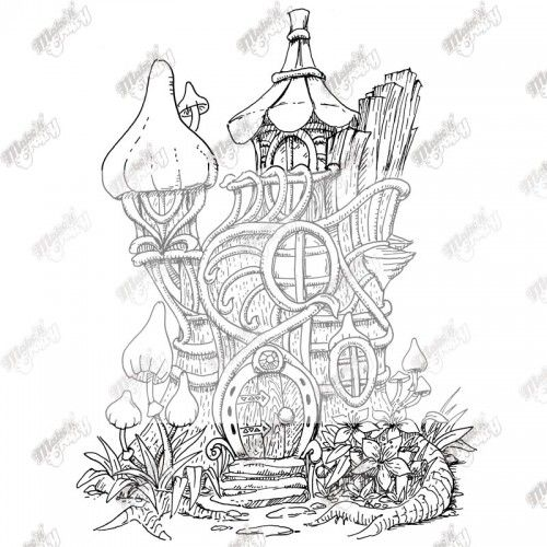 fairy tree house coloring pages  google search  adult