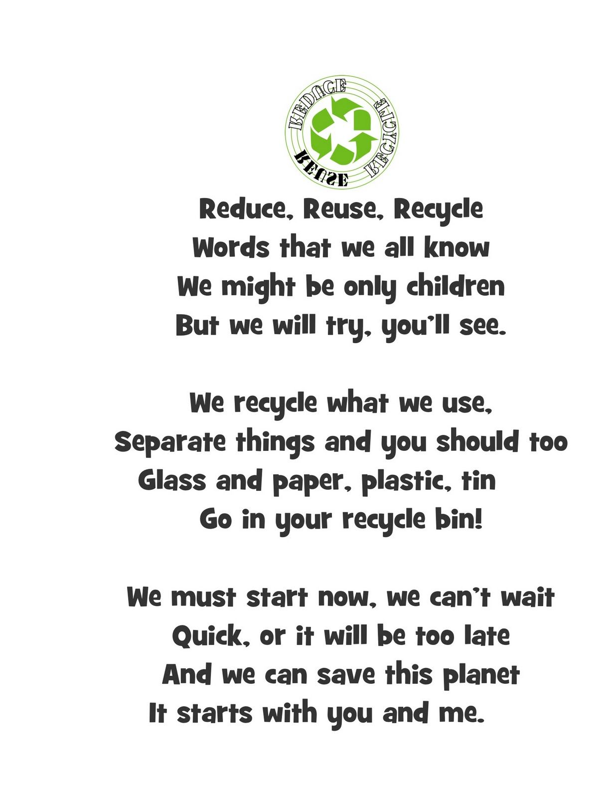 Reduce Reuse Recycle Poem
