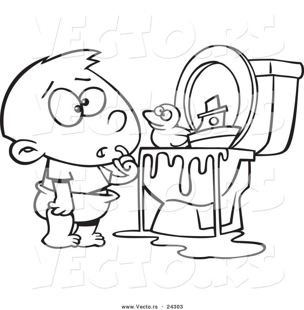 Vector Of A Cartoon Boy With Toys In The Toilet Black And