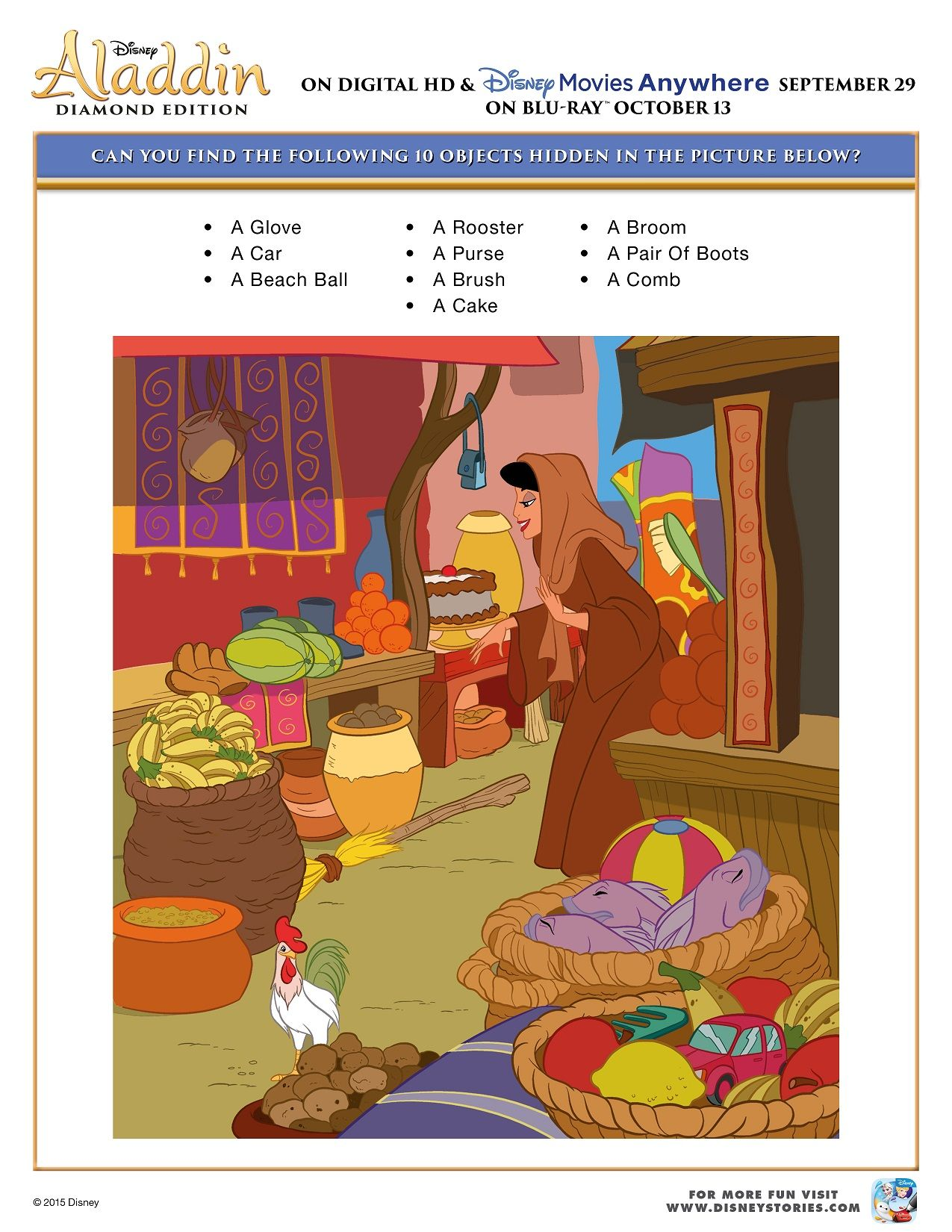 Free Printable Aladdin Activity Sheets Aladdin Hidden