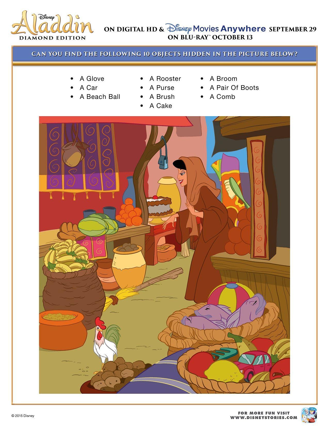 Free Printable Aladdin Activity Sheets Aladdin Hidden Object Activity Sheet
