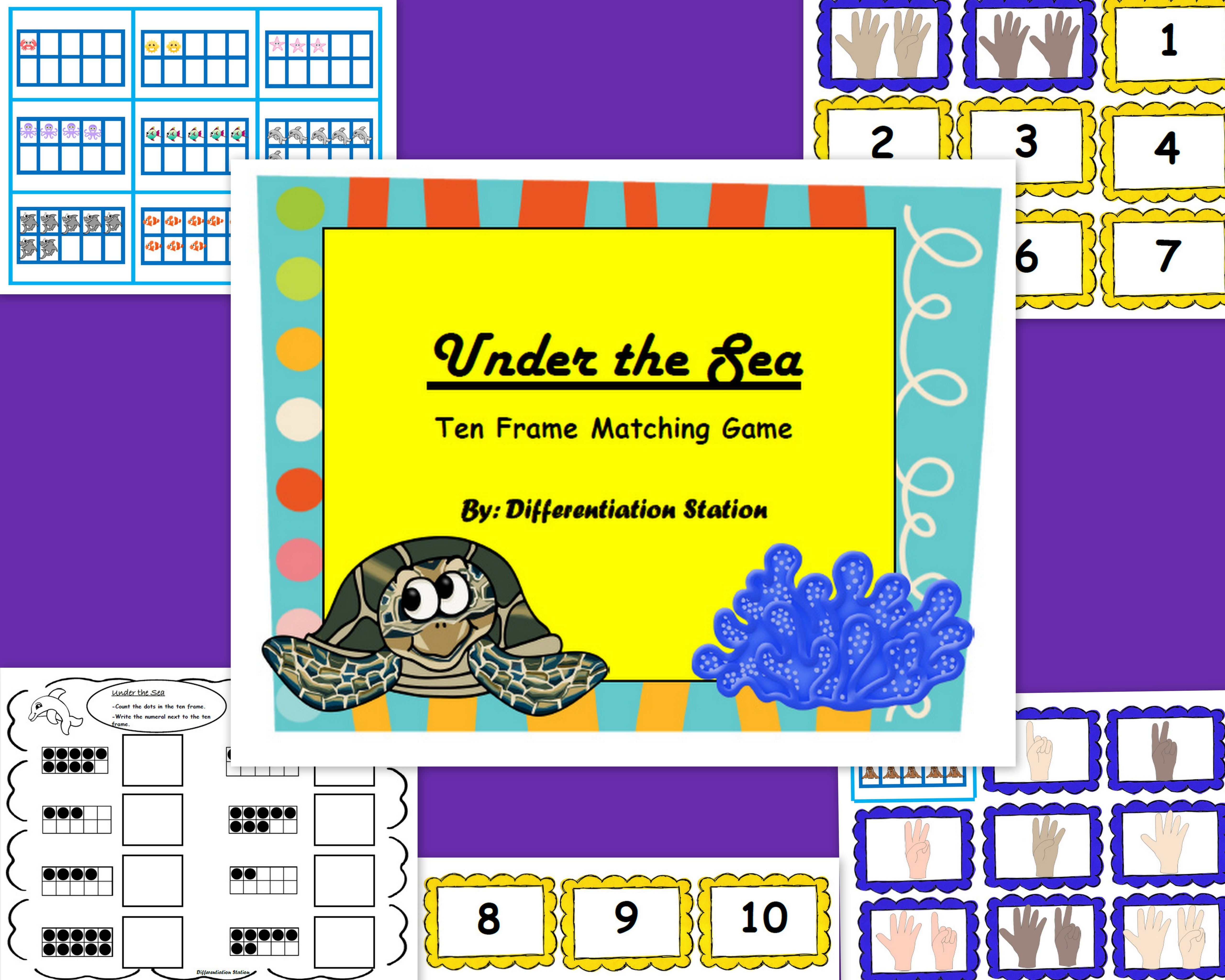 Free Under The Sea Ocean Ten Frames Matching Game Match The Ten Frame Fingers And Number