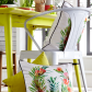 White scatter cushion with tropical print conservatory project