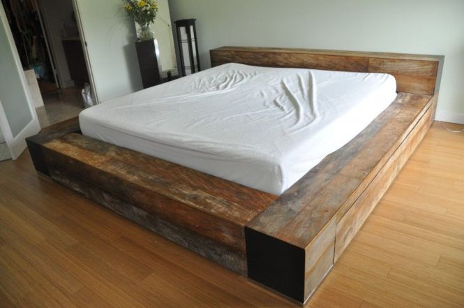 Bedroom Furniture Artistic Reclaimed Wood Bed Frame Platform With White Cover Sheets On Brown Laminated Wooden