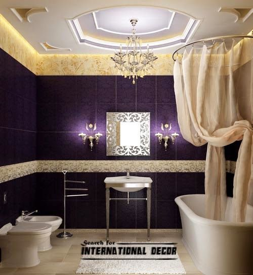 False Ceiling Pop Designs For Luxury Bathroom Ideas In Purple