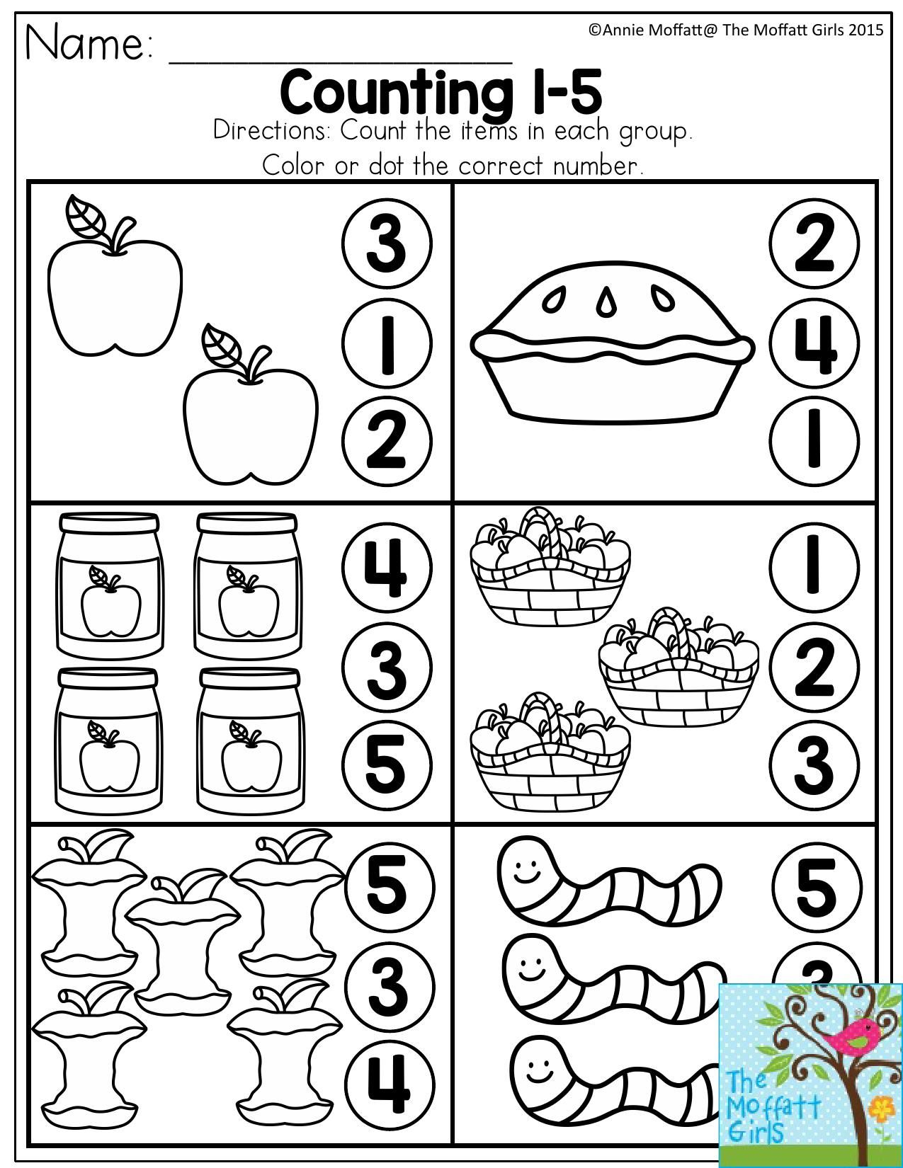 Counting 1 5 Count The Items In Each Group And Dot Or Color The Correct Number There Are Tons