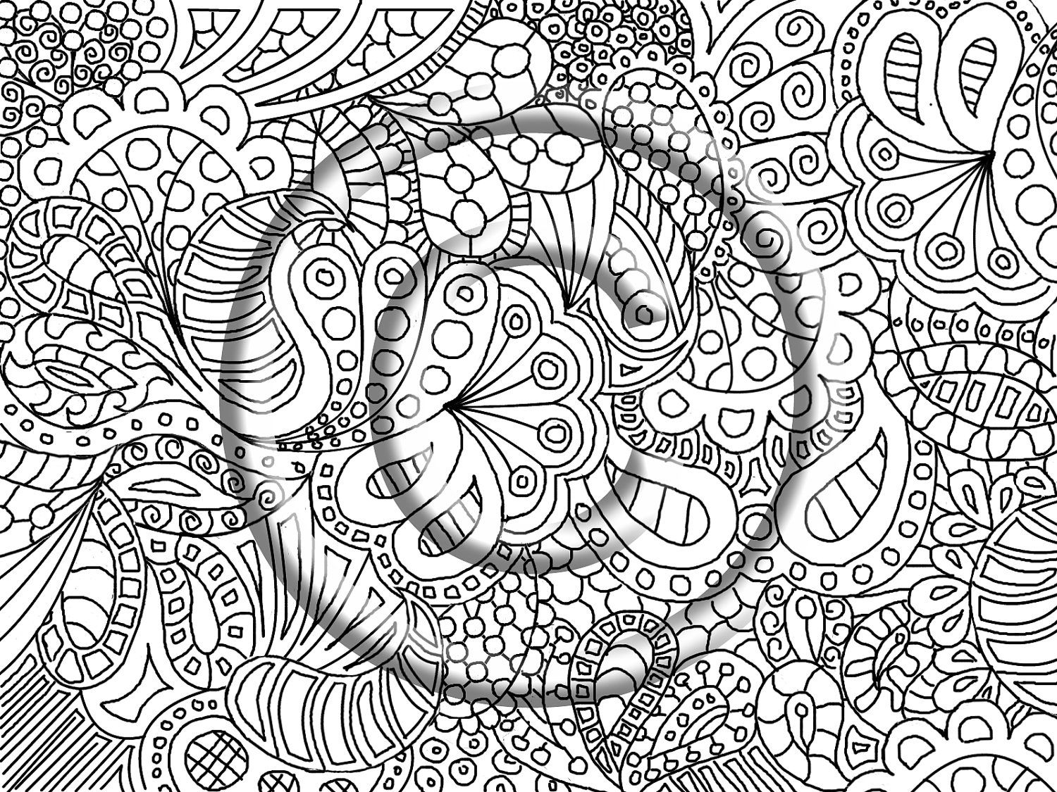 Digital Download Coloring Page Hand Drawn Zentangle