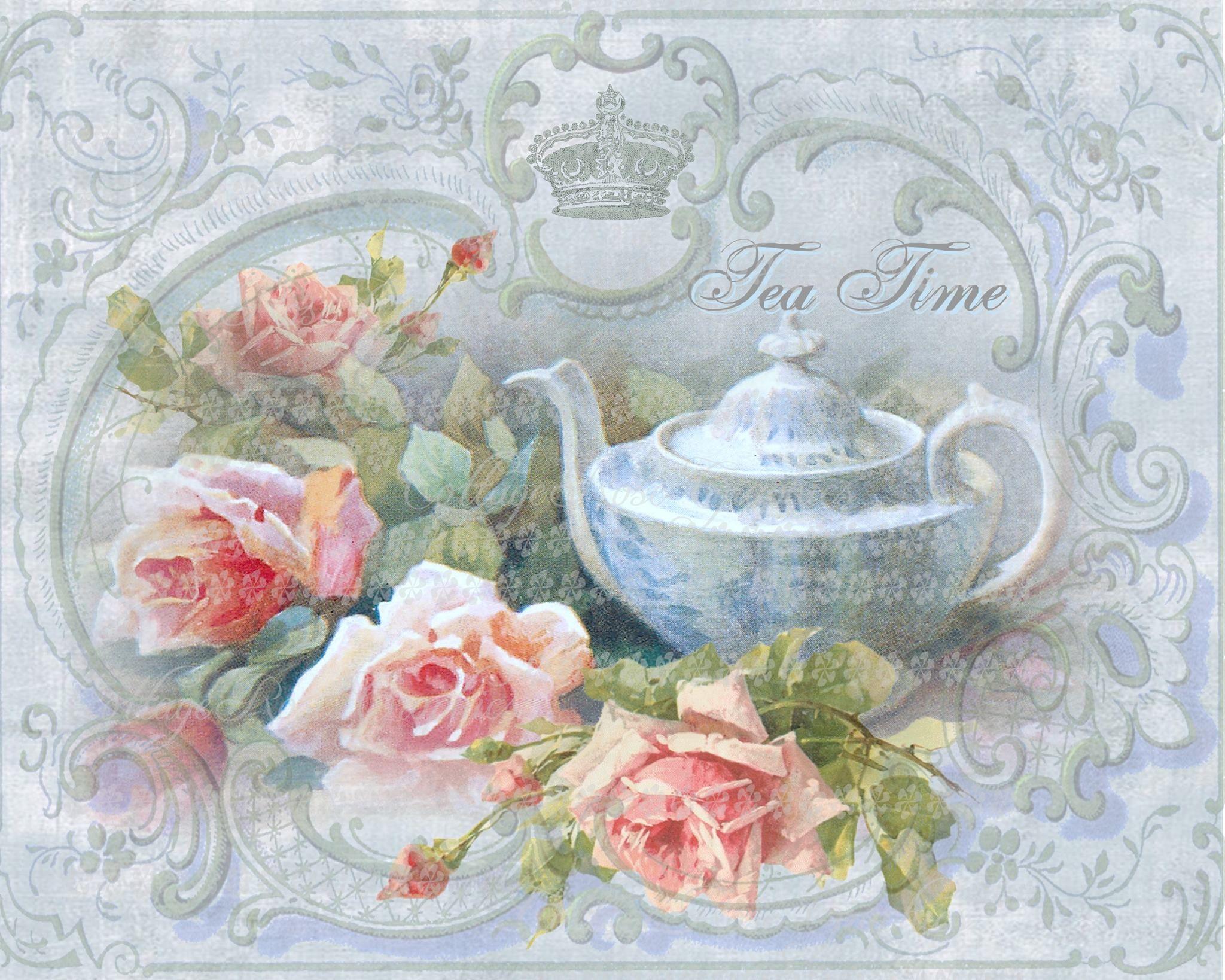 Victorian Tea Time Large Digital Download Pink Roses Buy 3 Get One Free Ecs Rdtt