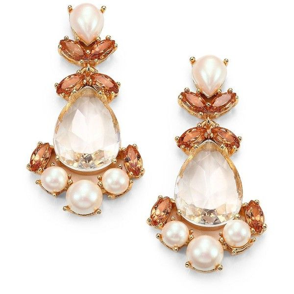 Kate Spade New York Faux Pearl Chandelier Earrings 105 Liked On Polyvore Featuring