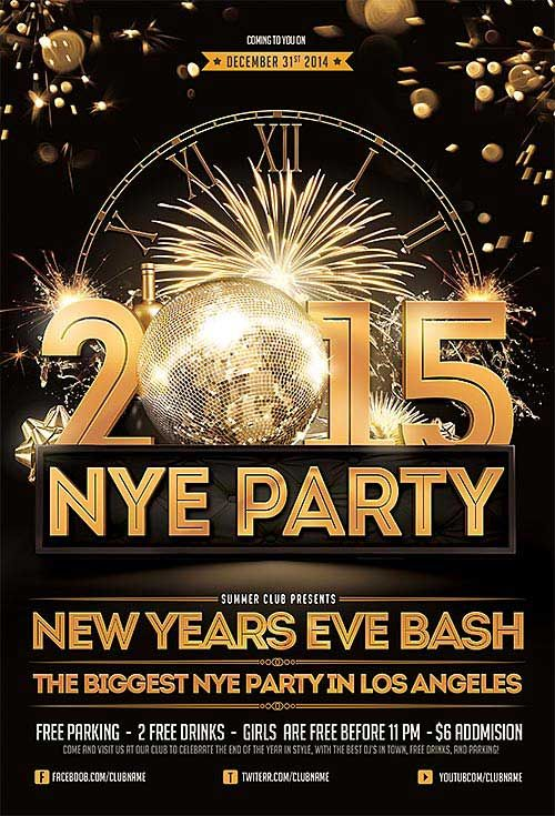 New Years Eve Free PSD Flyer Template - http ...