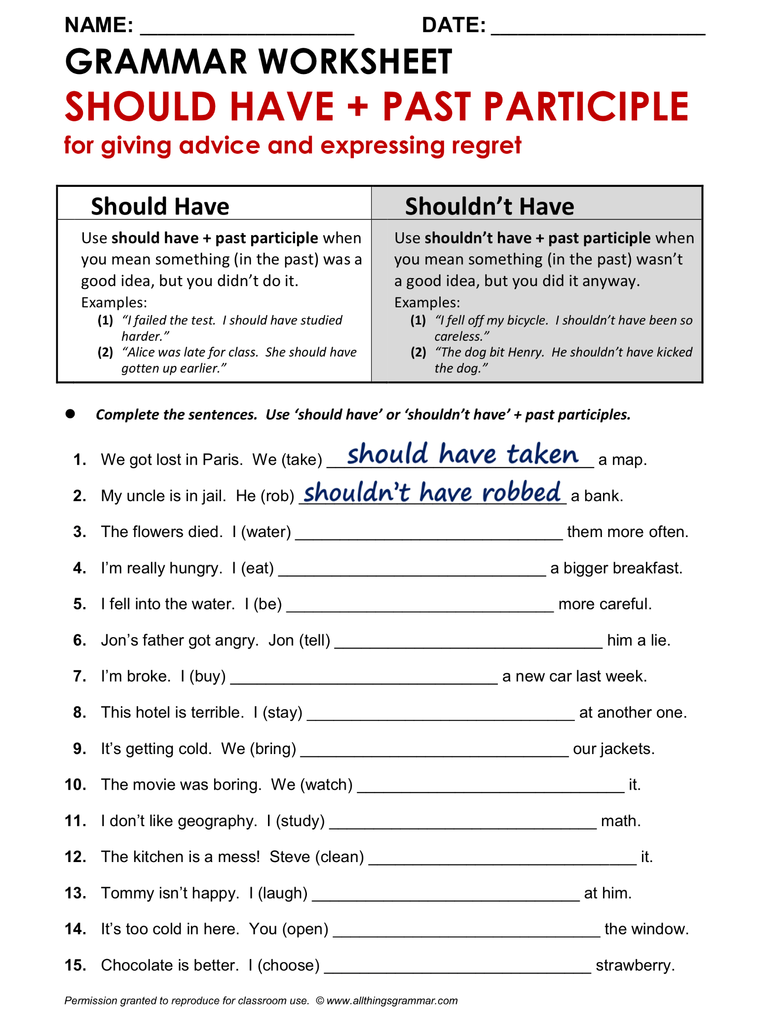 English Grammar Worksheet Should Have Past Participle 1 2 Lthingsgrammar