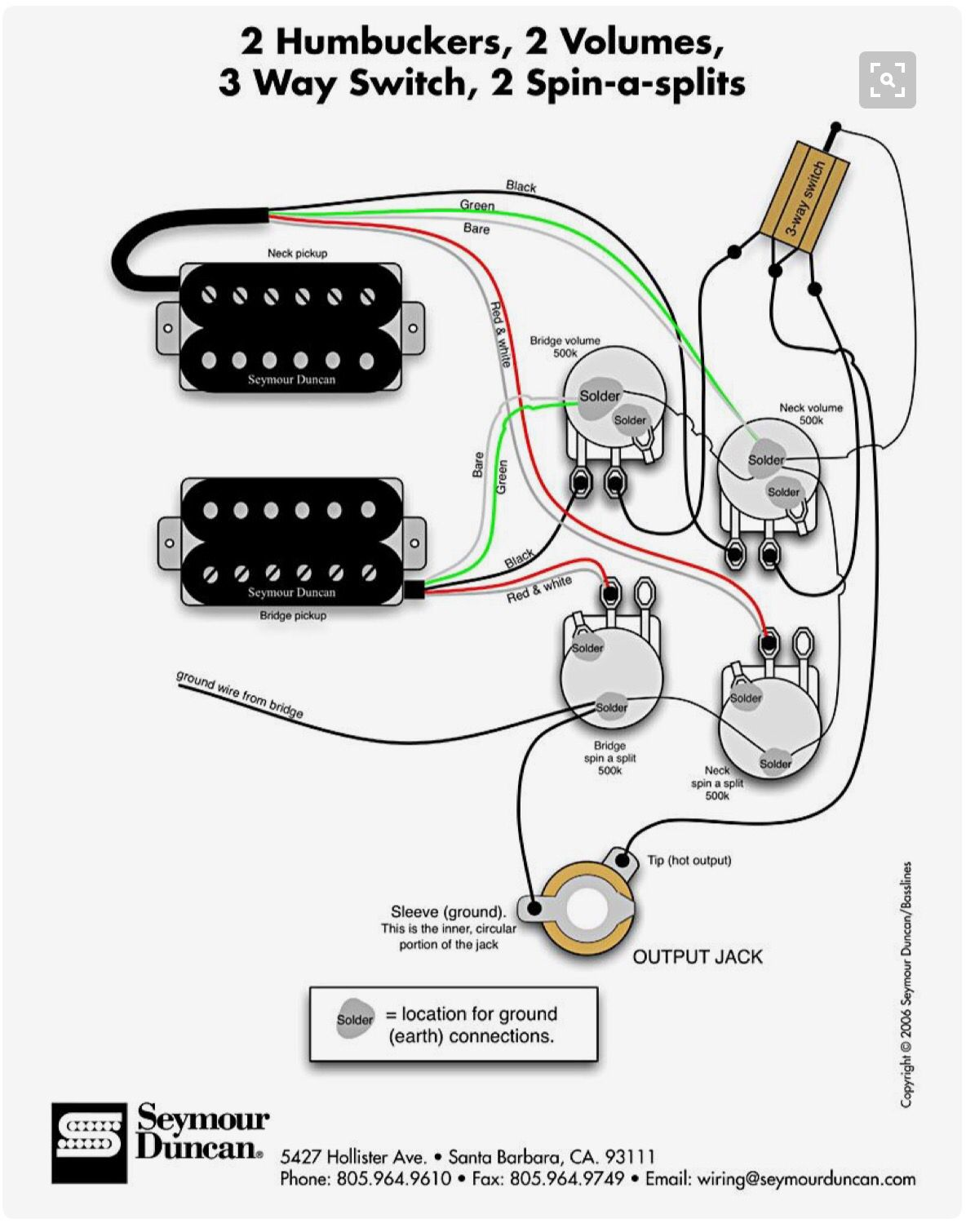 Wiring Diagram 2 Humbuckers 1 Volume