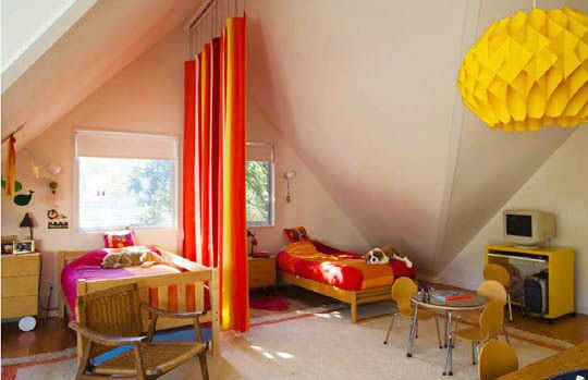 Design Solutions For Shared Kids Bedrooms A Curtain Room Divider Makes Perfect Sense