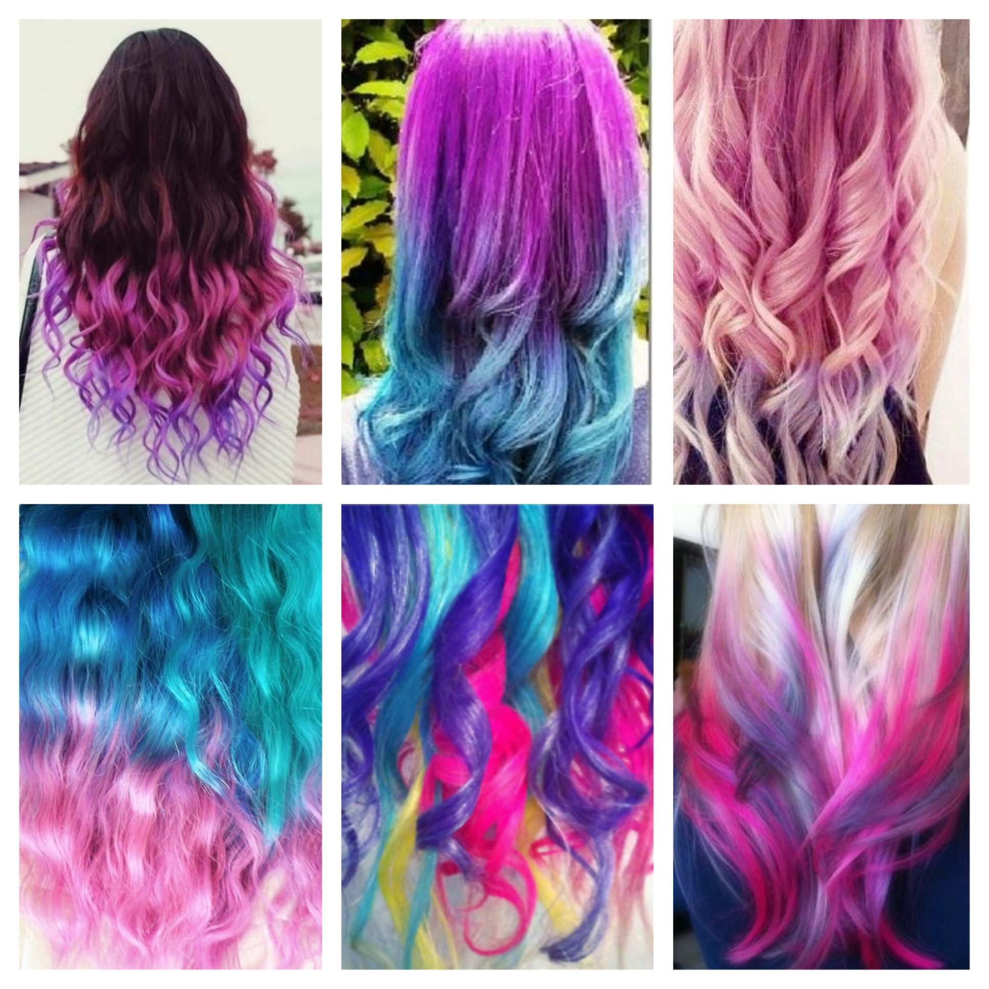 Pink Red Blue Orange Yellow Purple Different Colored Hair