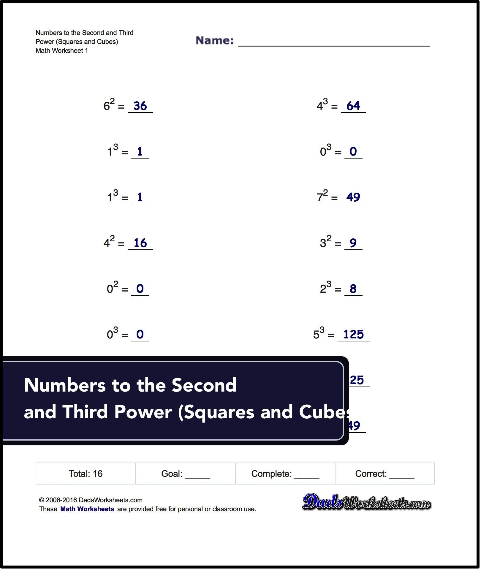 Exponents Worksheets For Numbers To The Second And Third Power Squares And