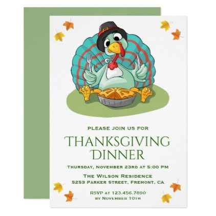 cute funny turkey thanksgiving dinner party invite invitations holiday cyo diy happy invitation