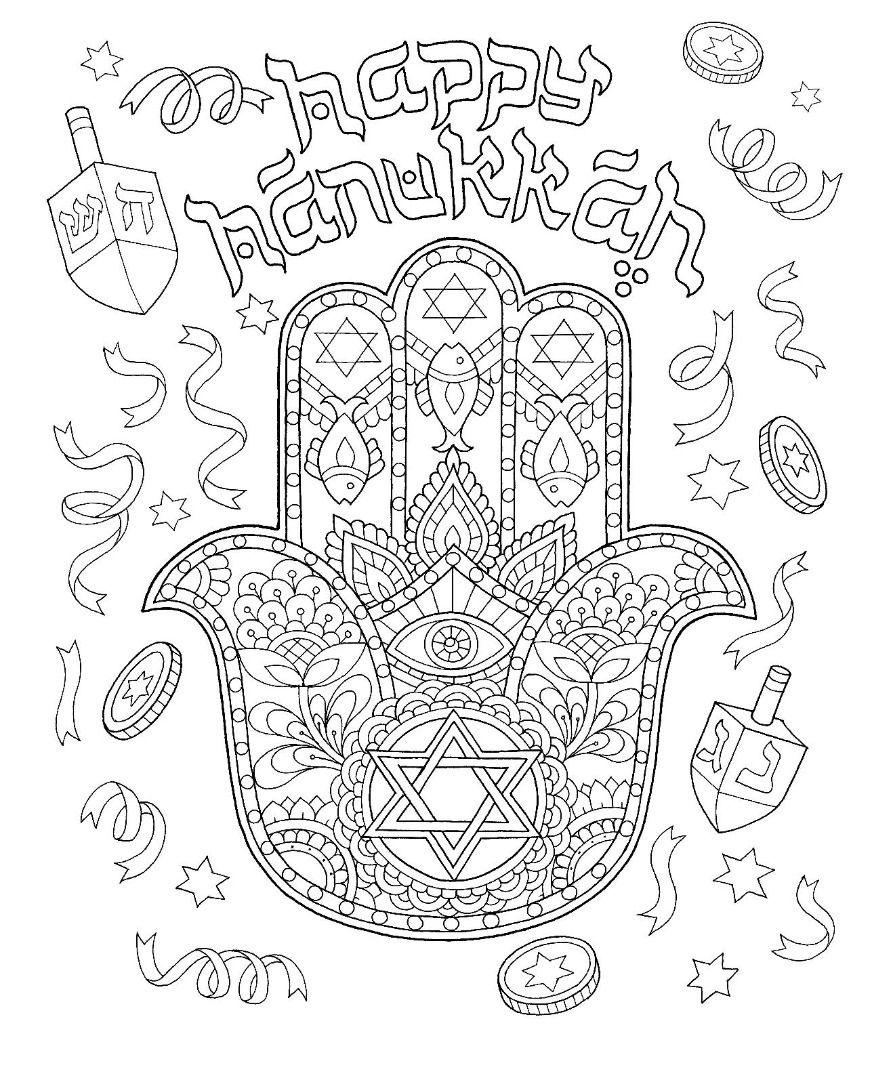 Hanukkah Hamsa Hand Coloring Page Coloring Pages Pinterest