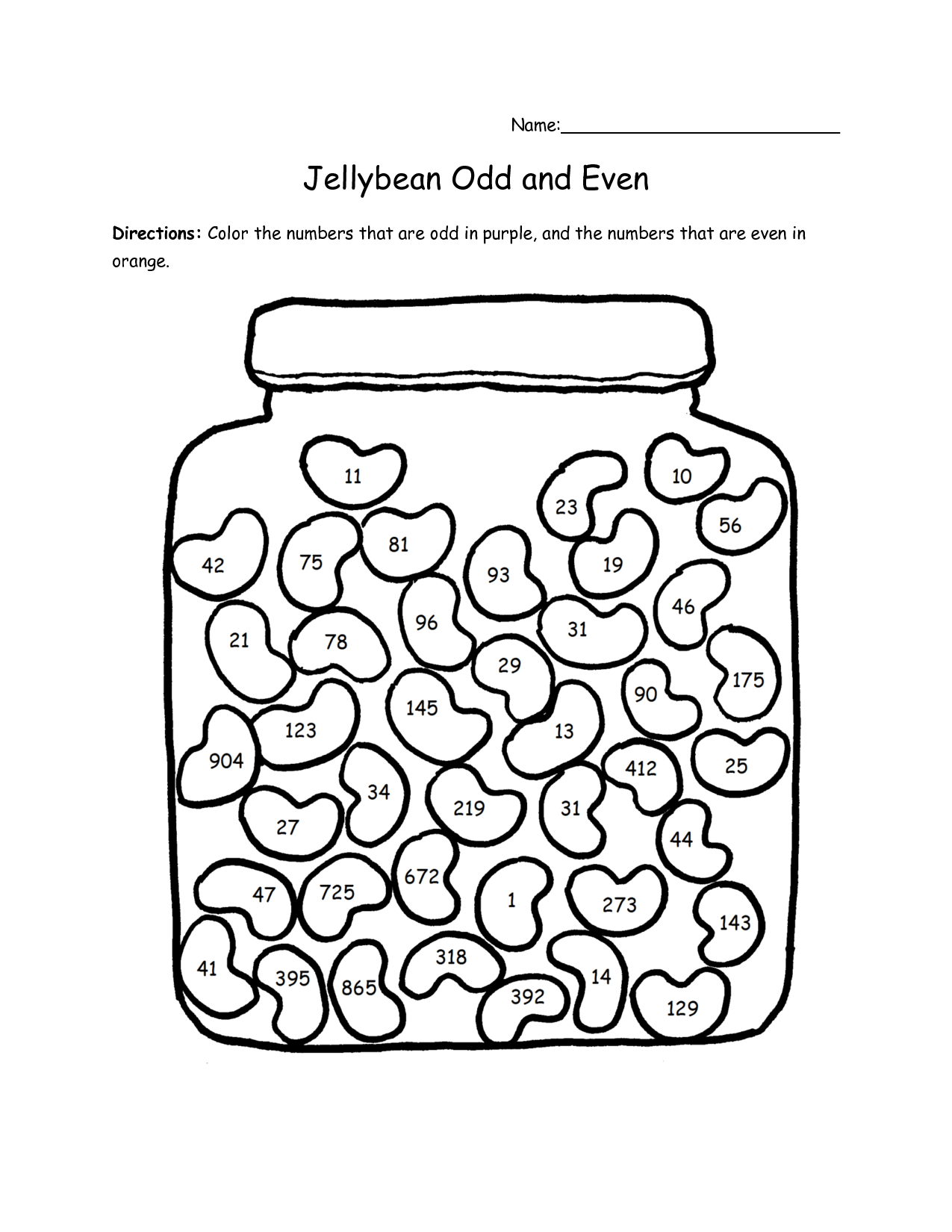 1st Grade Odd Number Worksheet
