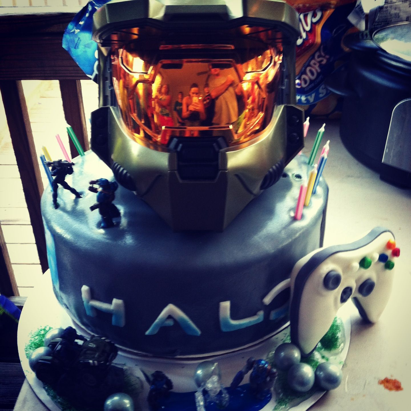 Awesome Halo Themed Cake With Masterchief Helmet Xbox And