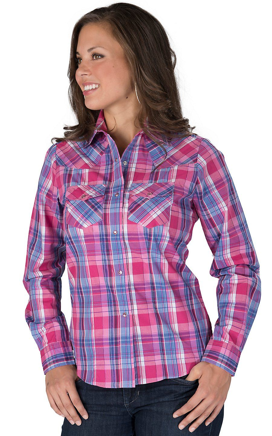Download Cowgirl Legend® Women's Pink & Blue Plaid with Purple ...