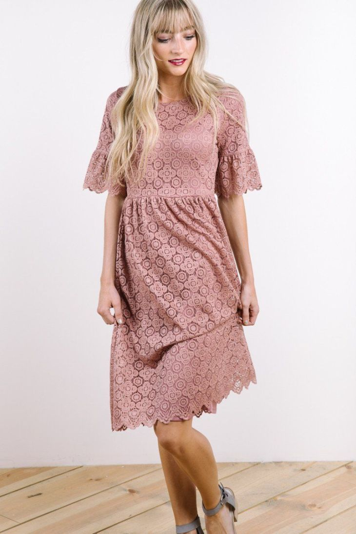 The Bayley Lace Empire Dress in Dusty Rose  Dusty rose Empire and Rose
