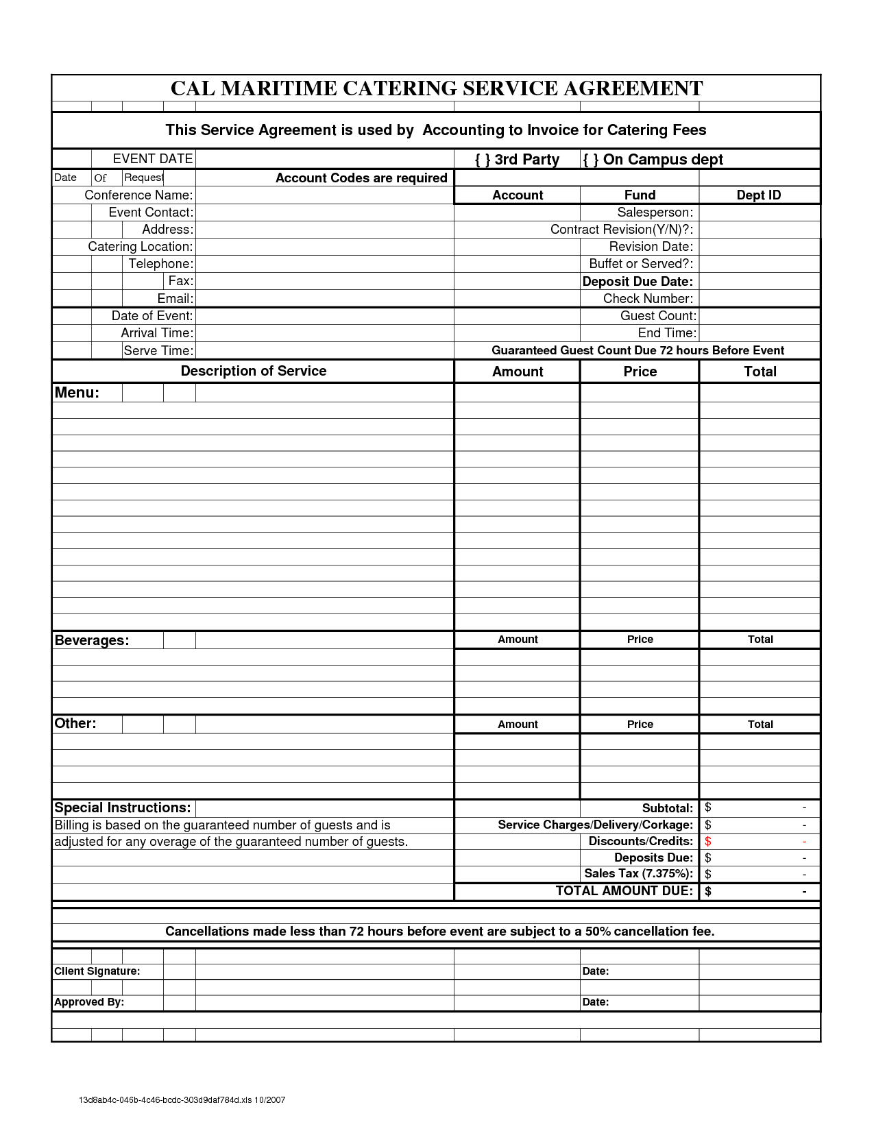 Free Downloadable Catering Contracts Forms