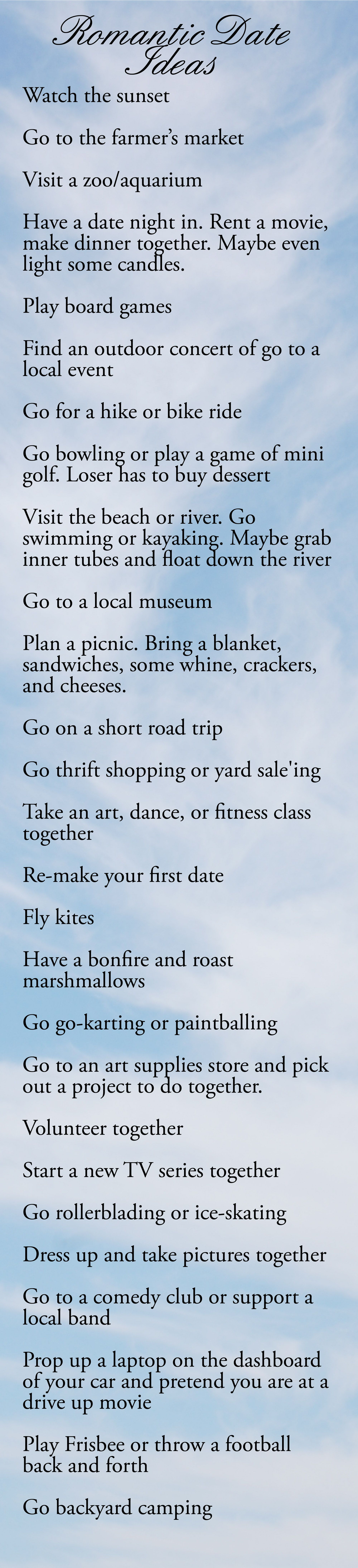 These Are Some Great Date Ideas That I May Have To Try