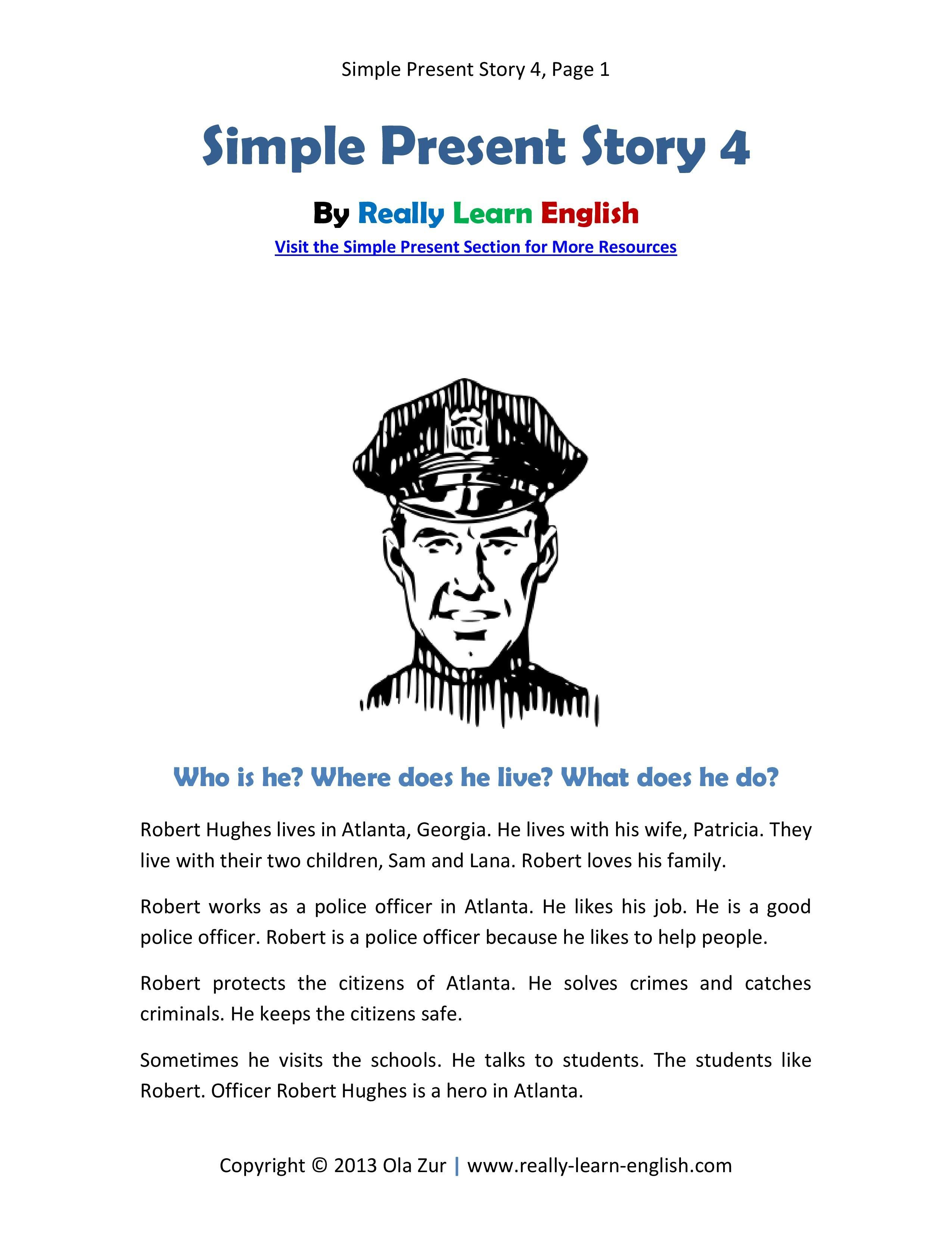 Look A Free Printable English Short Story In The Simple