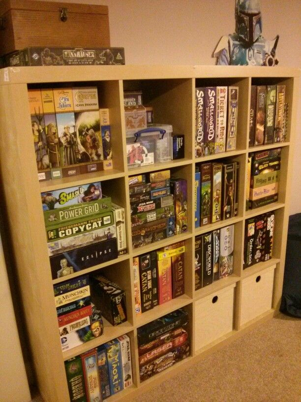 There are some surprising ways to accomplish building on to your home. Board game shelves! #storage #boardgame #games #tidy #ikea ...