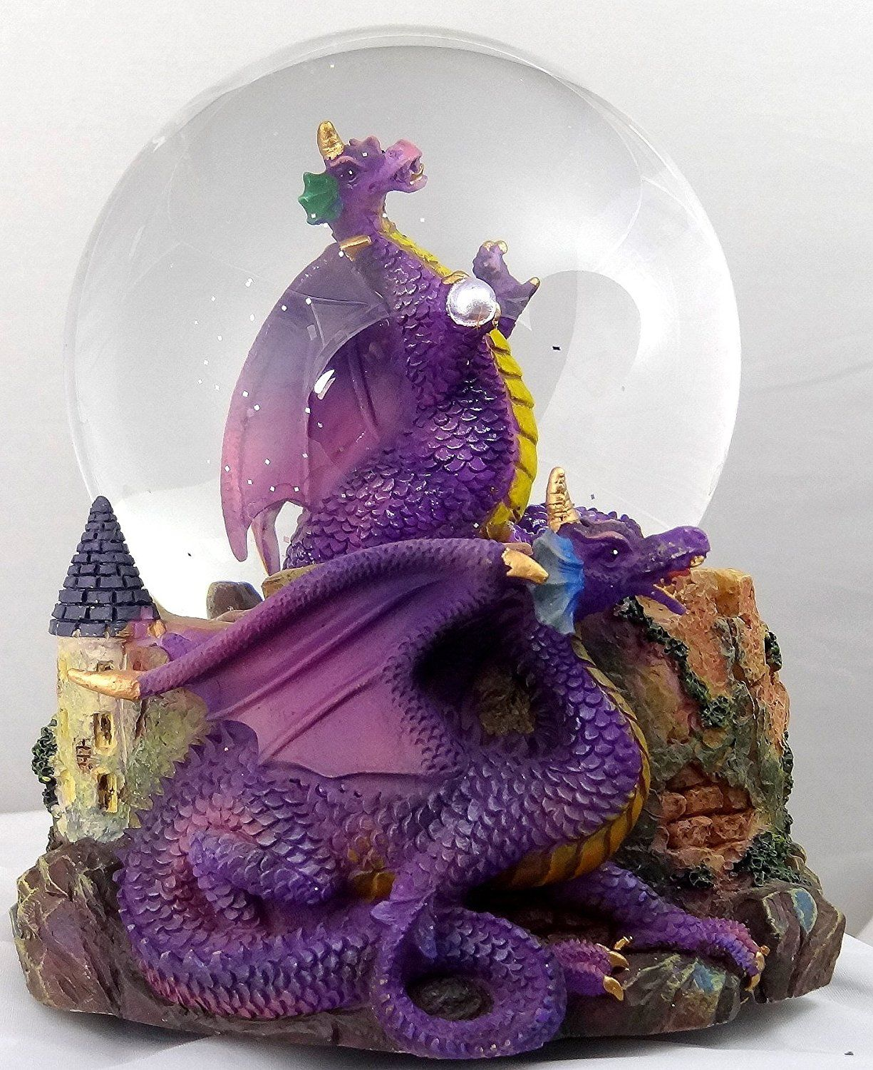 Purple Dragon Clutching Crystal With Castle Snow Globe
