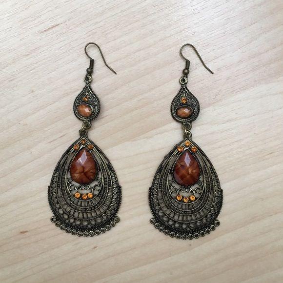 Nwot Brown Amber Chandelier Earrings