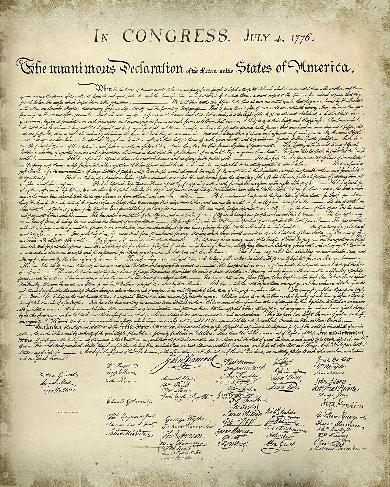 Declaration Of Independence Printable Version