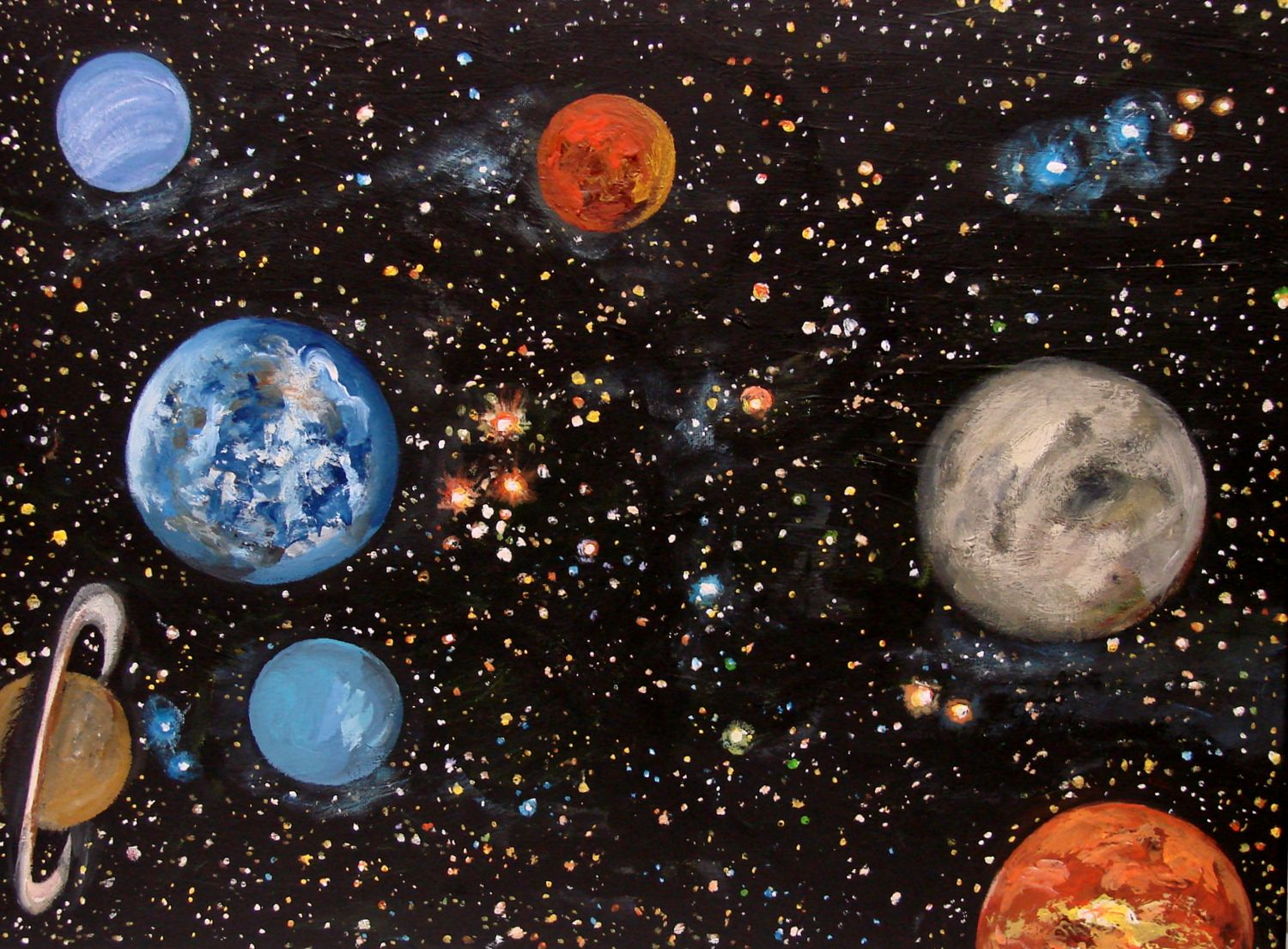 Original Painting Solar System 18 X 24 Gallery Wrapped