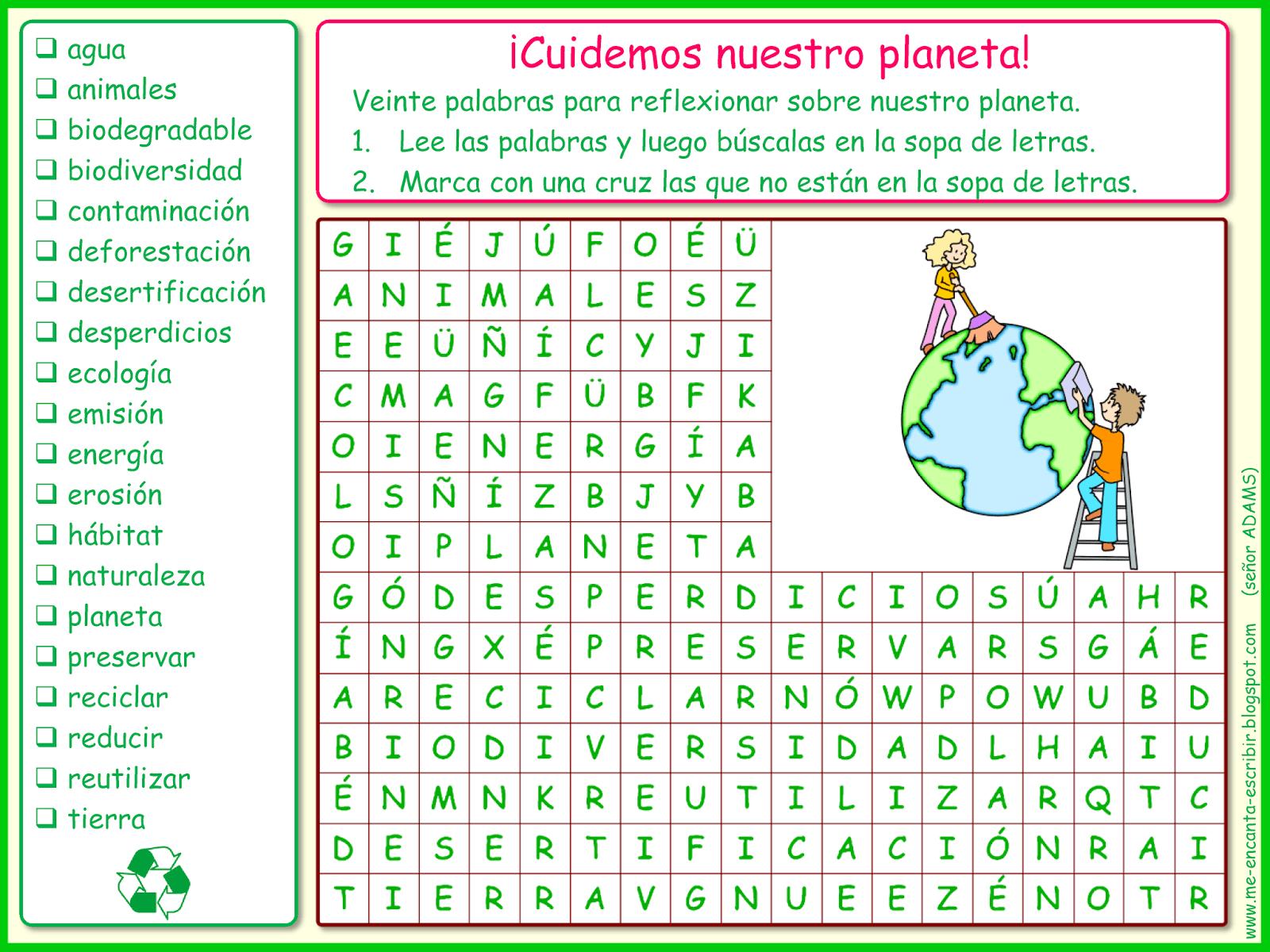 Me Encanta Escribir En Espanol Cuidemos Nuestro Planeta