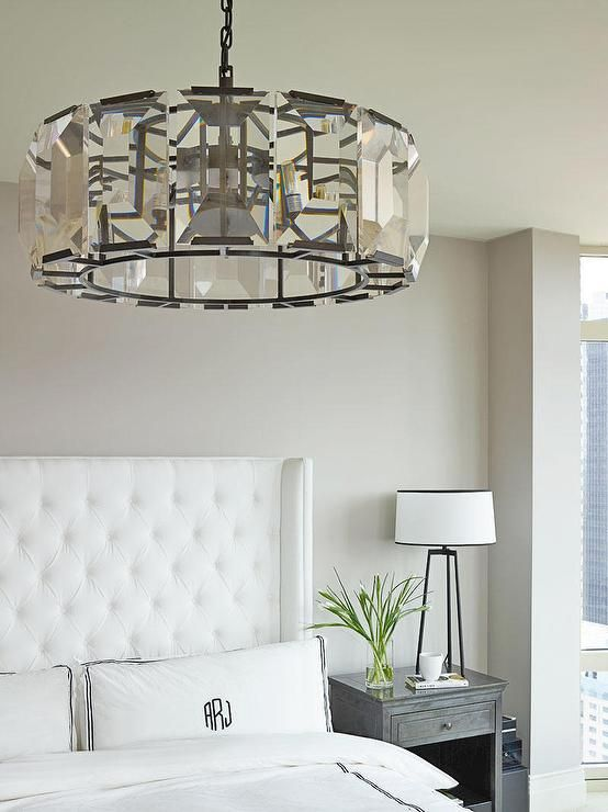 Chic Elegant Bedroom Features A Restoration Hardware Harlow Crystal Chandelier Hanging Over
