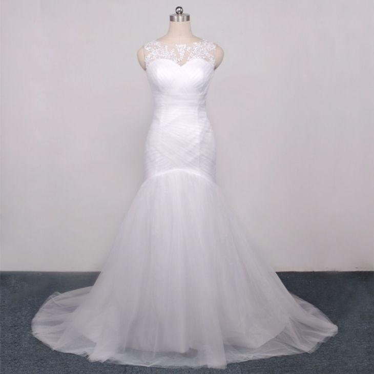 Trumpet Tulle Mermaid Wedding Dresses Applique Beaded O neckline