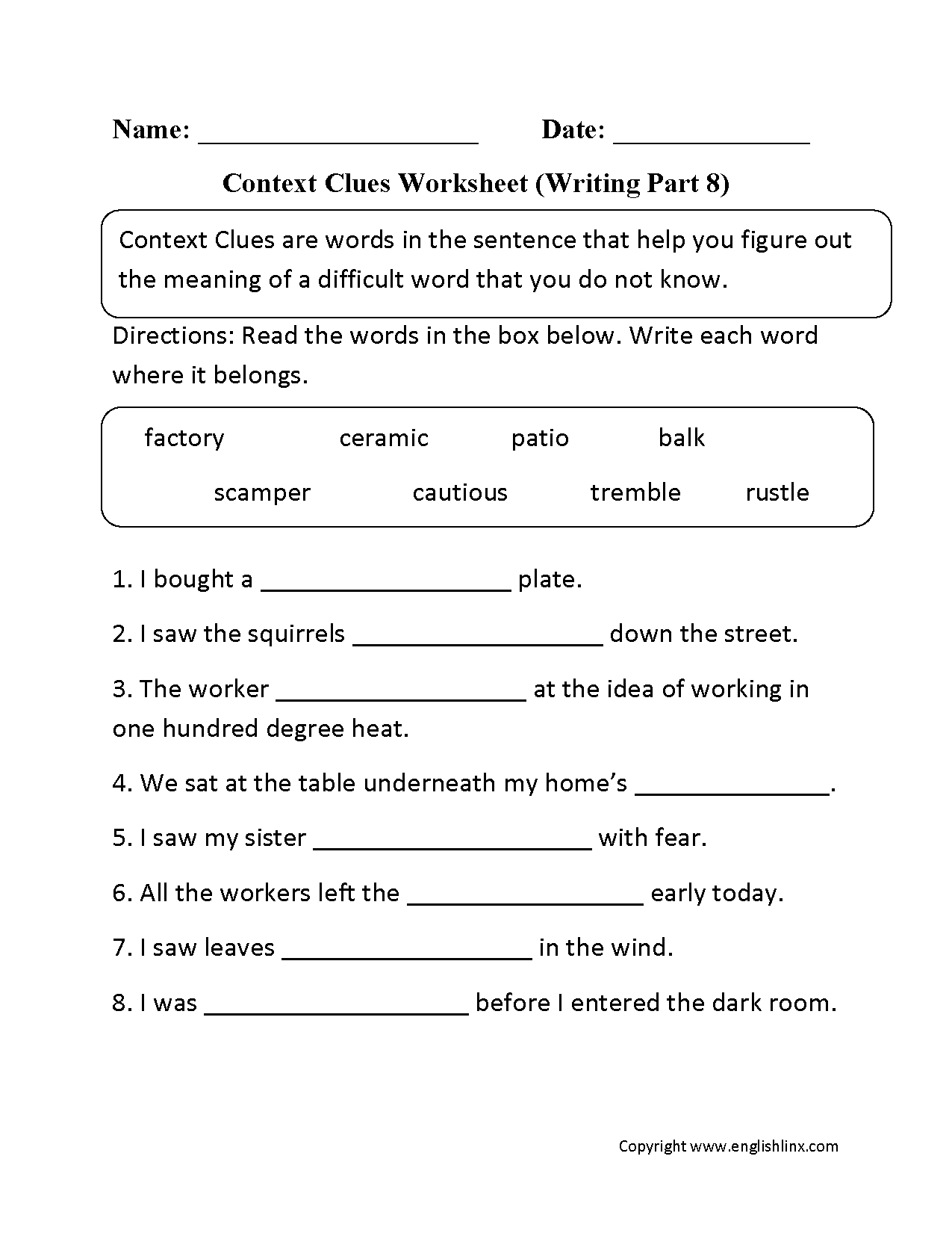 Context Clues Warm Ups Printable Worksheets From