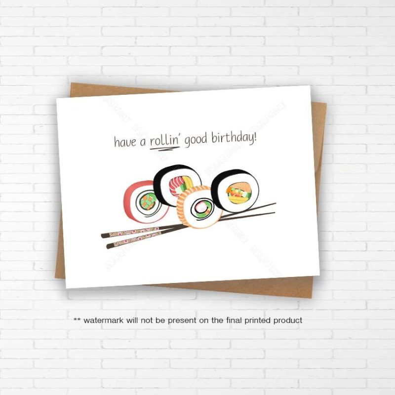 Funny unique sushi birthday card with envelope handmade