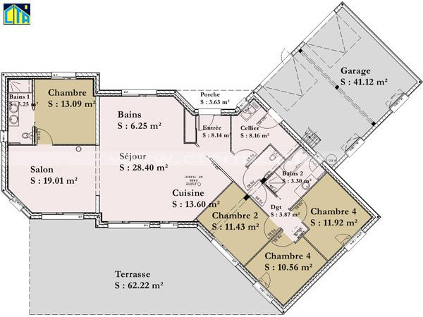 Plan De Maison En V Plain Pied 4 Chambres